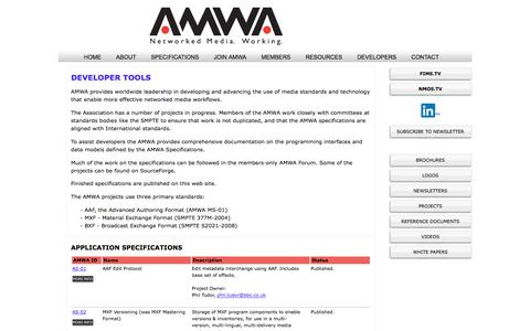 Screenshot of Developers Page amwa.tv - Developers | Advanced Media Workflow Association - captured June 12, 2018