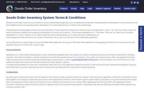 Screenshot of Terms Page goodsorderinventory.com - GOIS PRO- Product | Inventory Management apps - Terms And Conditions - captured Feb. 10, 2016