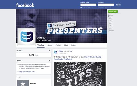 Screenshot of Facebook Page facebook.com - Ethos3 | Facebook - captured Oct. 22, 2014