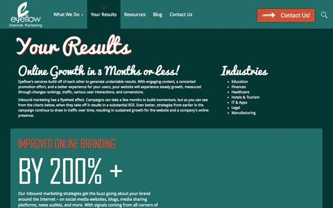 Screenshot of Case Studies Page eyeflow.com - Inbound Marketing Case Studies and Results | Eyeflow Internet Marketing - captured Sept. 23, 2014