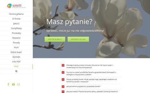 Screenshot of FAQ Page sonett.pl - FAQ - Sonett.pl - captured Oct. 24, 2018