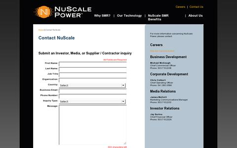 Screenshot of Contact Page nuscalepower.com - NuScale Contact Us - captured July 20, 2014