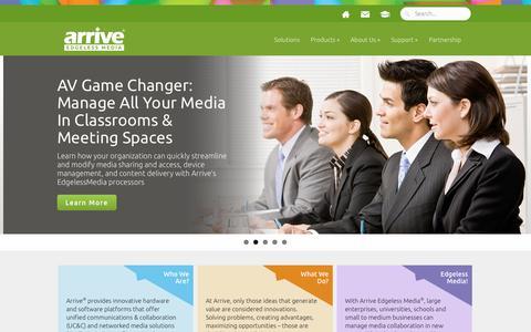 Screenshot of Home Page arrivesys.com - Arrive | Edgeless Media - captured Oct. 4, 2014