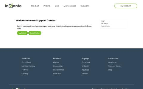 Screenshot of Support Page invanto.com - Welcome to our Support Center - captured Dec. 10, 2018