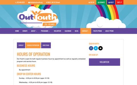 Screenshot of Hours Page outyouth.org - Hours of Operation - Out Youth - captured June 16, 2016
