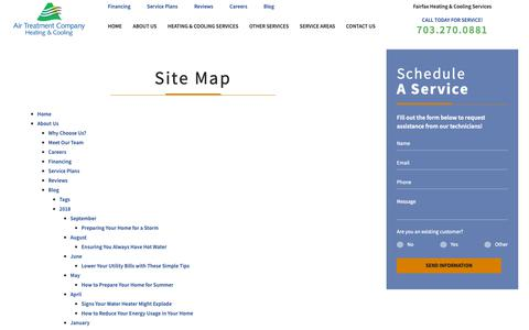Screenshot of Site Map Page air-treatment.com - Site Map   Fairfax Heating & AC - captured Oct. 3, 2018