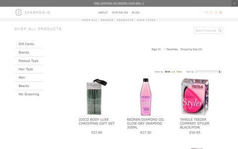 Screenshot of Products Page shampoo.ie - SHAMPOO.IE - SHOP ALL - captured Oct. 25, 2017