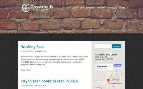 Screenshot of Blog crossroadsbible.org - Blog - Crossroads Bible Church - captured Feb. 1, 2016