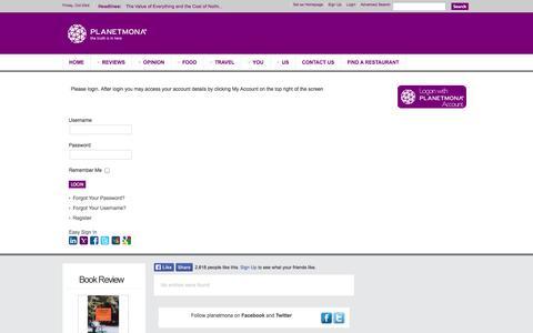 Screenshot of Login Page planetmona.com - Login - captured Oct. 3, 2014