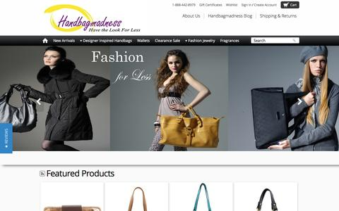 Screenshot of Home Page handbagmadness.com - Trendy Women Handbags and Purses for less - captured June 15, 2016