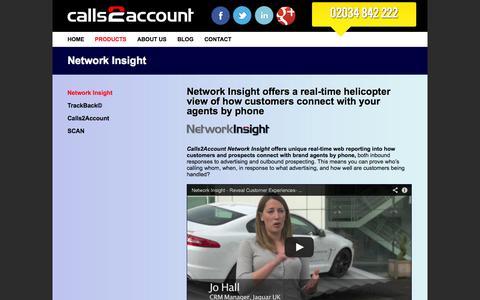 Screenshot of Services Page calls2account.com - Network Insight | calls2account - captured Sept. 27, 2014