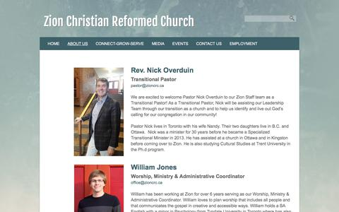 Screenshot of Team Page zioncrc.ca - Our Staff | Zion Christian Reformed Church - captured Nov. 5, 2017