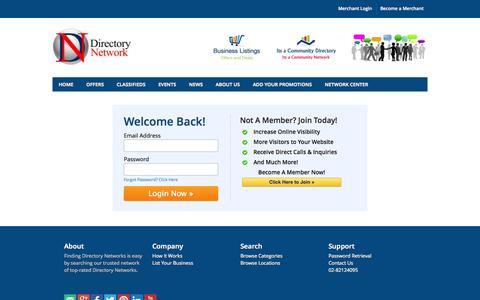 Screenshot of Login Page directorynetwork.com.au - Directory Network Login - Directory Network Directory - Directory Network Profile Listing - captured Nov. 4, 2014