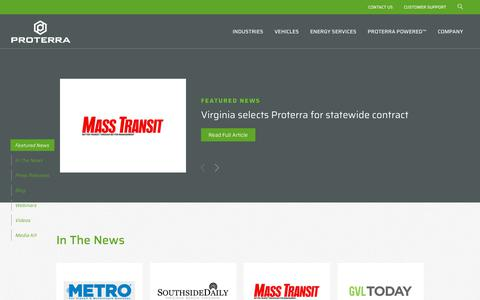 Screenshot of Press Page proterra.com - Newsroom   Proterra - captured July 22, 2019