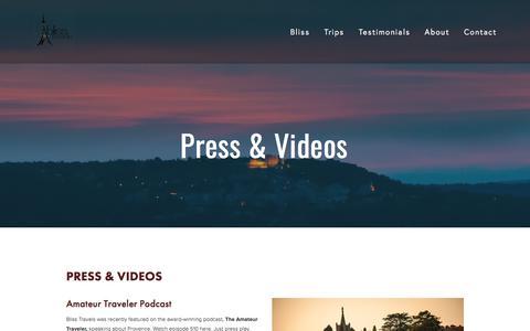 Screenshot of Press Page blisstravels.com - Press & Videos — Bliss Travels - captured June 1, 2017