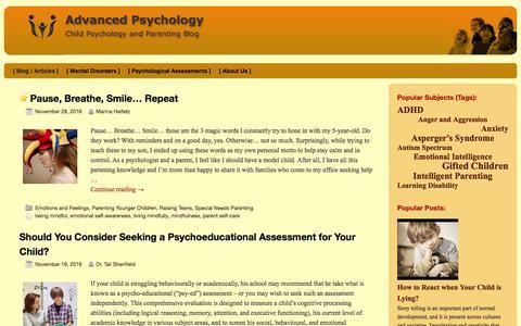 Screenshot of Blog psy-ed.com - Child Psychology and Parenting Blog - captured Dec. 2, 2016