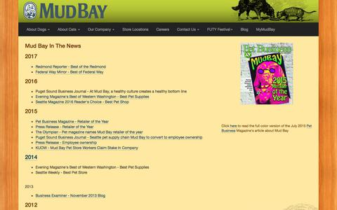 Screenshot of Press Page mudbay.com - About Mud Bay. Best of. Employee owned - Mud Bay | Natural Dog & Cat Foods | Pet Supply Stores | Seattle, Bellevue, Tacoma, Portland - for Healthy Dogs and Cats - Mud Bay for Healthy Dogs and Cats - captured July 13, 2018