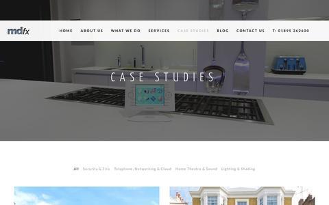 Screenshot of Case Studies Page mdfx.co.uk - Case Studies & Recent Projects - MDfx Smart Home Solutions - captured Nov. 18, 2016
