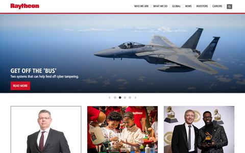 Screenshot of Home Page raytheon.com - Raytheon: Customer Success Is Our Mission - captured Sept. 19, 2019