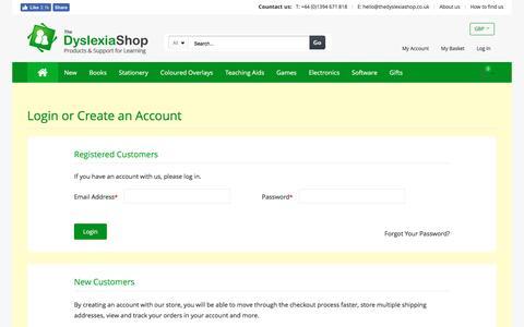 Screenshot of Login Page thedyslexiashop.co.uk - Customer Login | The Dyslexia Shop - captured Dec. 16, 2016