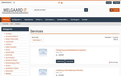 Screenshot of Services Page melgaards-it.dk - Webshop - Melgaards IT - captured May 27, 2017