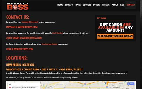 Screenshot of Contact Page Locations Page workoutboss.com - Locations —Workout Boss & CrossFit Funky - captured Feb. 26, 2016