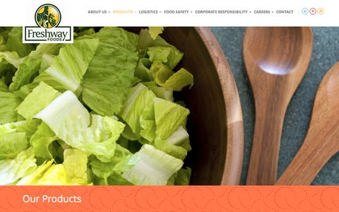 Screenshot of Products Page freshwayfoods.com - Our Products   Freshway Foods - captured Jan. 8, 2016