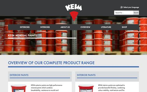 Screenshot of Products Page keim.com - Overview- Keimfarben - captured Oct. 15, 2018