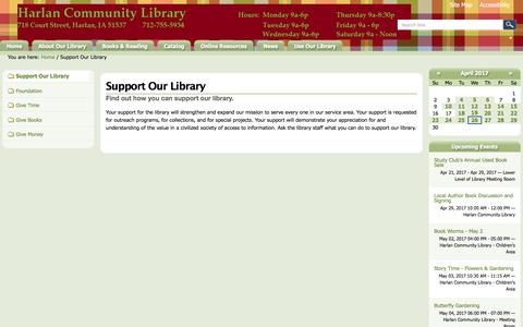 Screenshot of Support Page harlan.lib.ia.us - Support Our Library — Harlan Community Library - captured April 27, 2017