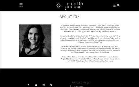 Screenshot of About Page colettemalouf.com - Colette Malouf - captured Aug. 15, 2017