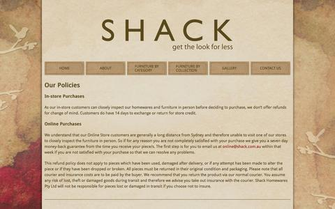 Screenshot of Terms Page shack.com.au - Our Policies - captured Feb. 16, 2016
