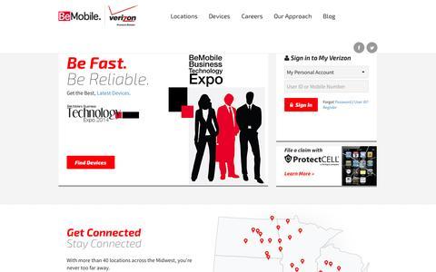 Screenshot of Home Page bemobile.com - Be Fast. Be Reliable. BeMobile Now. | BeMobile - captured Oct. 5, 2014
