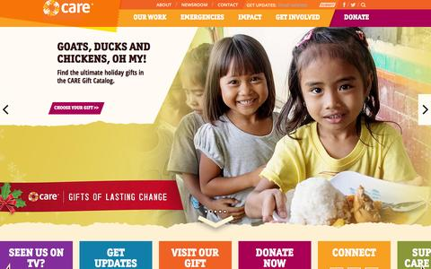 Screenshot of Home Page care.org - CARE | A Leading Humanitarian Organization Fighting Global Poverty - captured Dec. 1, 2015