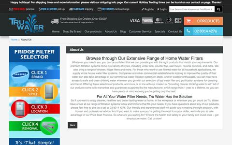 Screenshot of About Page truwater.com.au - About Us : Best House Water Filter Systems – Tru Water (Aust) - Get cleaner & healthier household water supply by ordering home water filters from Tru Water (Aust). Check out our range of water filter systems today. - captured Dec. 20, 2016