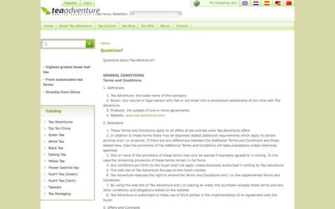 Screenshot of FAQ Page tea-adventure.com - Questions about Tea-Adventure? - captured Oct. 3, 2014
