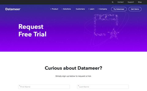 Screenshot of Trial Page datameer.com - Request Free Trial to see Datameer in action | Datameer - captured July 12, 2018