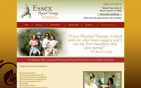 Screenshot of FAQ Page eptvt.com - Physical Therapists | Essex Junction, VT - captured Sept. 29, 2018