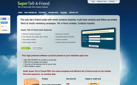 Screenshot of Pricing Page super-tell-a-friend.com - Tell A Friend Script With Contact Importer - Purchase Super Tell A Friend - captured April 2, 2016