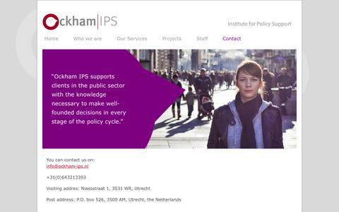 Screenshot of Contact Page ockham-ips.nl - Ockham-IPS > Contact - captured Oct. 27, 2014
