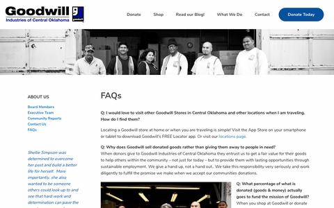 Screenshot of FAQ Page okgoodwill.org - FAQs   Goodwill Industries of Central Oklahoma - captured Sept. 29, 2018