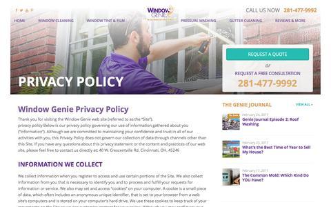 Screenshot of Privacy Page windowgenie.com - Privacy Policy - Window Genie of Houston - captured Feb. 28, 2017