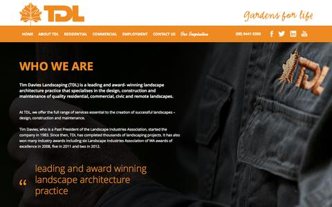 Screenshot of About Page tdl.com.au - About us | Tim Davies Landscaping - captured Oct. 7, 2014