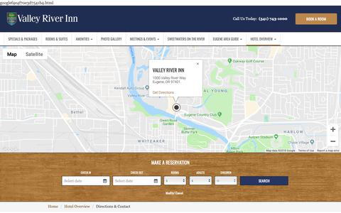 Screenshot of Contact Page Maps & Directions Page valleyriverinn.com - Directions & Contact - Valley River Inn - captured Oct. 20, 2018