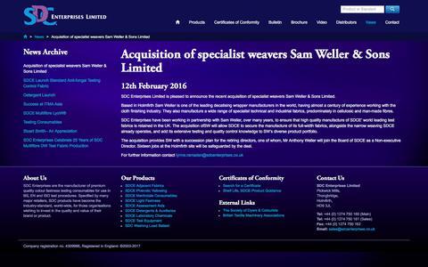 Screenshot of Press Page sdcenterprises.co.uk - Acquisition of specialist weavers Sam Weller & Sons Limited - SDC Enterprises Limited, News - captured Sept. 29, 2017