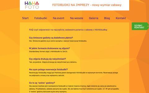 Screenshot of FAQ Page hahafoto.pl - FAQ czyli odpowiedzi na najczęściej zadawane pytania o zabawę z HAHAbudką: | Hahafoto.pl - captured Sept. 26, 2014