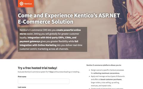 Screenshot of Landing Page kentico.com - E-commerce Hosted Trial | Kentico CMS for ASP.NET - captured Feb. 17, 2016