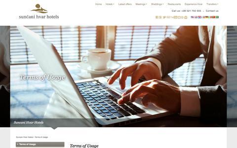 Screenshot of Terms Page suncanihvar.com - Terms of Usage   Suncani Hvar Hotels - captured Sept. 24, 2018