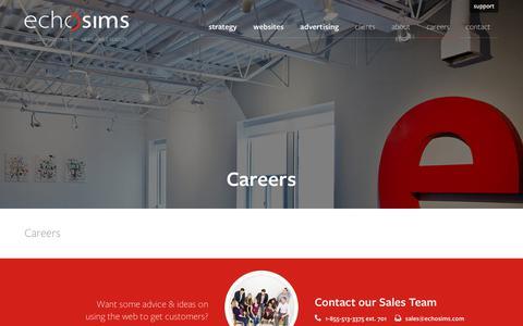 Screenshot of Jobs Page echosims.com - Careers - echosims - captured Aug. 18, 2019