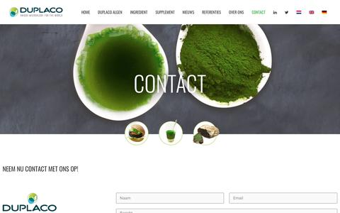 Screenshot of Contact Page duplaco.com - Duplaco | Neem contact op met de producent van Chlorella microalgen - captured Aug. 9, 2018