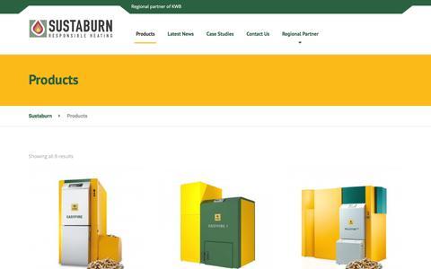 Screenshot of Products Page sustaburn.co.uk - Products Archive - Sustaburn - captured Feb. 26, 2016